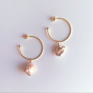 Jewelry - GOLD PEARL HOOP EARRINGS BAROQUE PEARL EARRINGS
